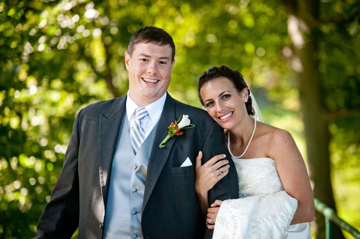Newlywed portrait of bride and groom at Penn Oaks Country Club